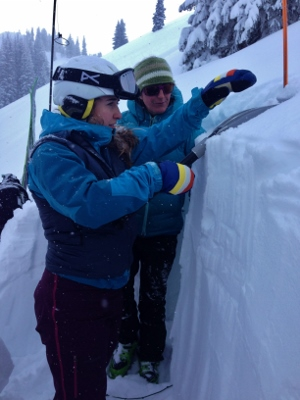 Checking snow layers: extended column test
