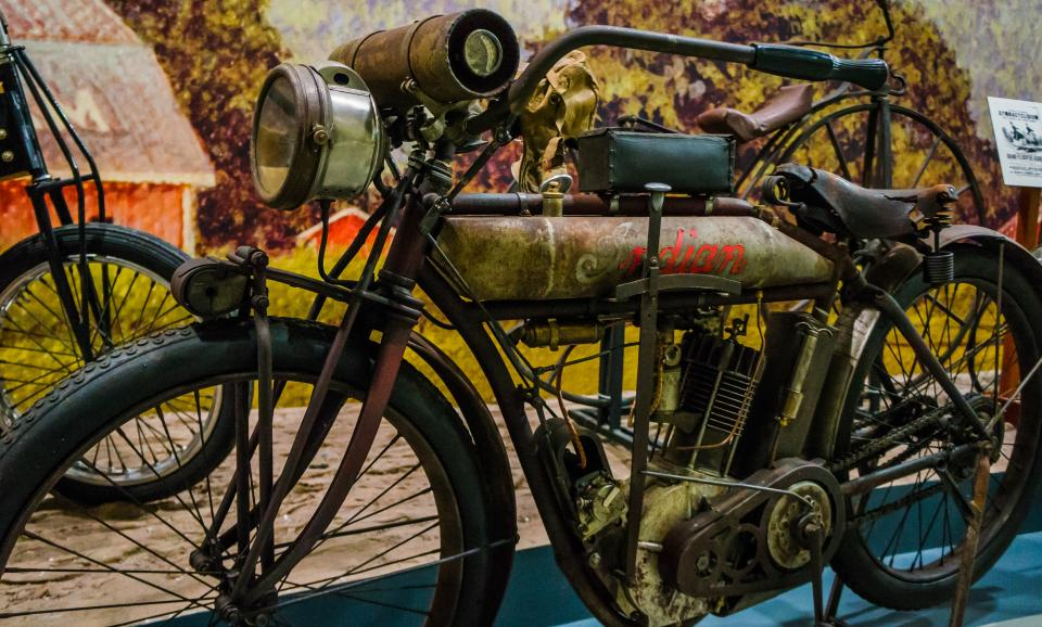 Early motorcycle at Glenn Curtiss Museum photo courtesy of Kenin Bassart