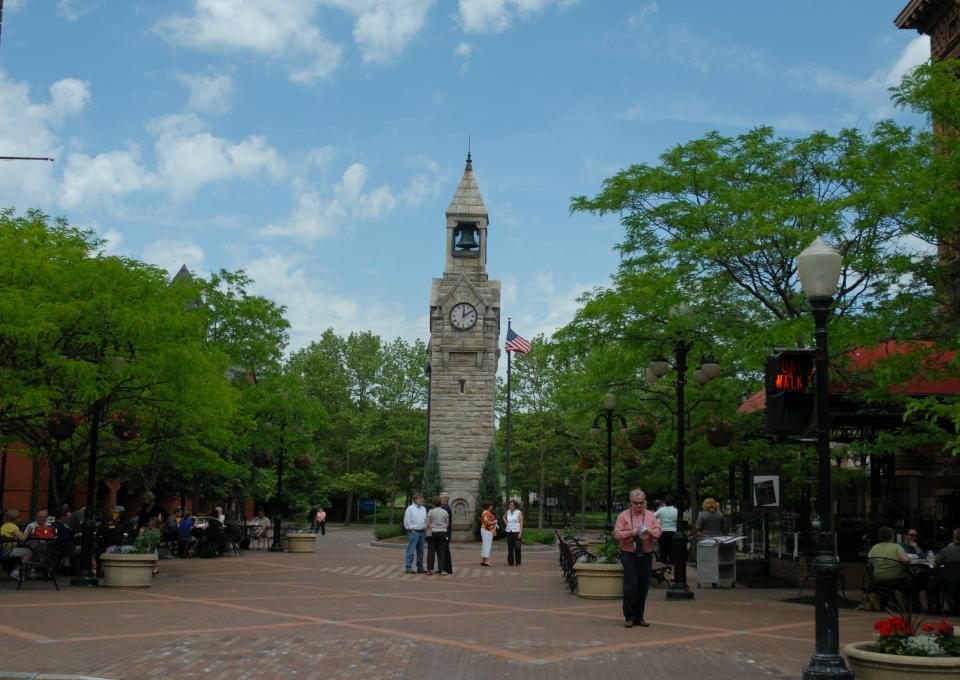 Clock Tower in Centerway Square courtesy of The Gaffer District
