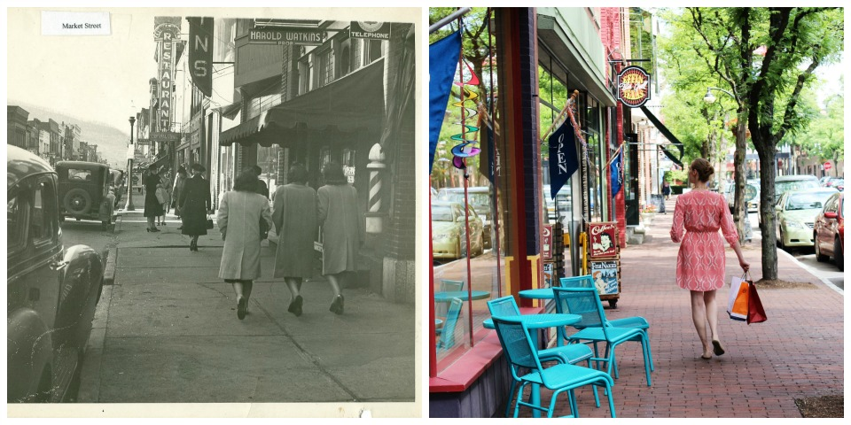 Market Street pre-1950 and Market Street today