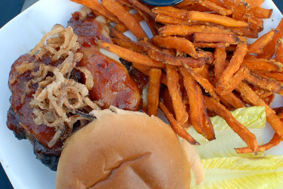 Market Street Brewing BBQ Chicken Sandwich and Sweet Potato Fries
