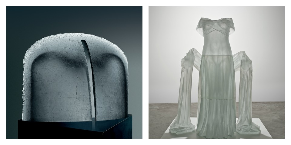 Imprint of an Angel II by Stanislav Libensky and Jaroslava Brychtová + Evening Dress with Shawl by Karen LaMonte courtesy of The Corning Museum of Glass