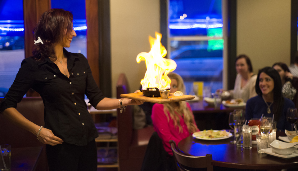 Flaming Saganaki Cheese at Luna Mezza Grille courtesy of Stu Galagher