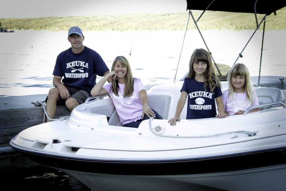 Lance Locey and family enjoying an evening on Keuka Lake.