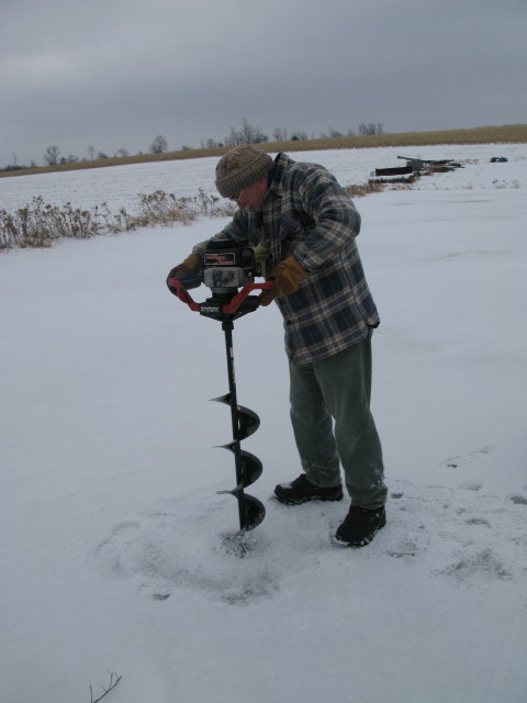 Randy with auger in the Finger Lakes