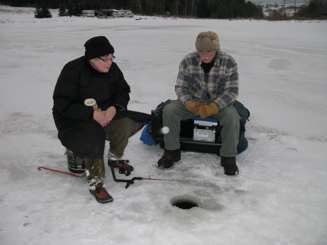 Robin and Randy ice fishing