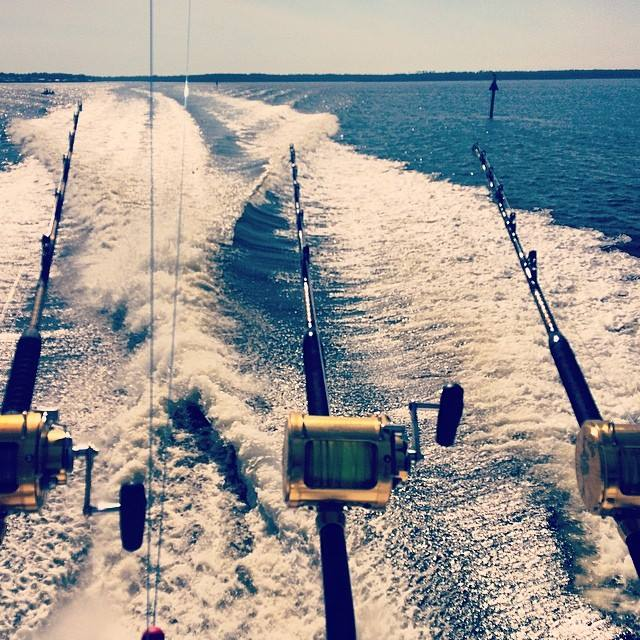 Mobile Bay; Water; Fishing Poles