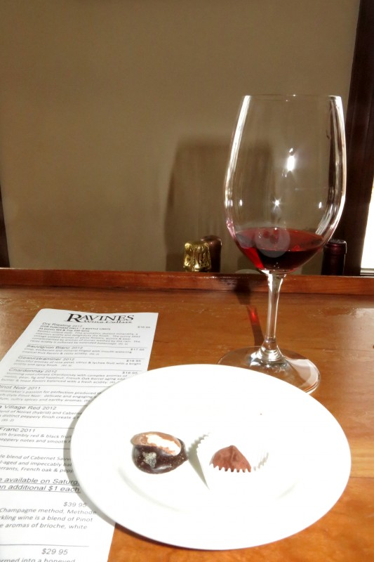 Chocolate and wine pairing at Ravines Wine Cellars
