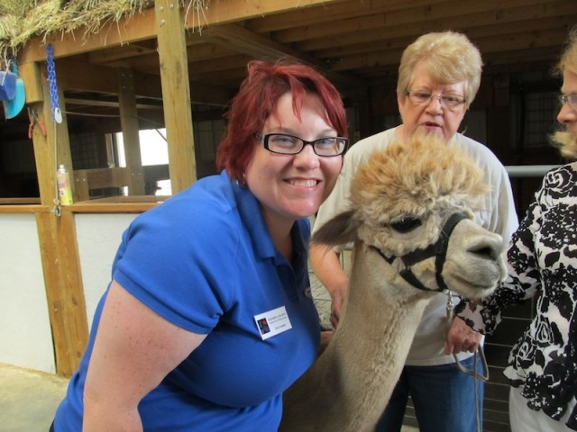 Erin loves our alpaca friends!