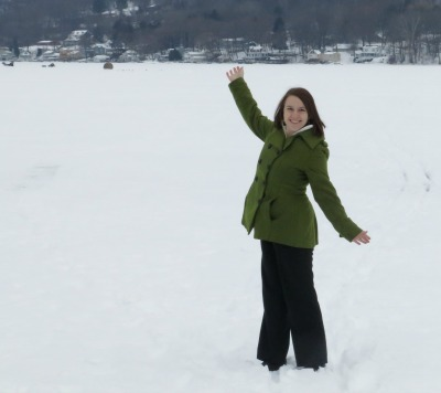 Standing on snowy/icy Keuka Lake!