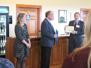 Meaghan and her father Fred Frank accept recognition from Joe Sempolinski, District Director for Congressman Reed, during a wine reception at Dr. Frank's.