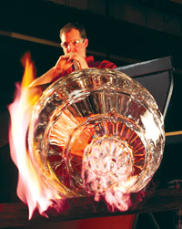 Corning Museum of Glass glassblower makes beautiful art.