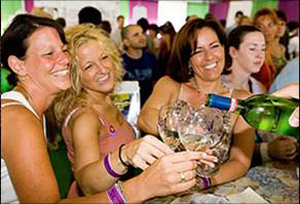 Friends enjoy a refreshing glass of Finger Lakes wine.