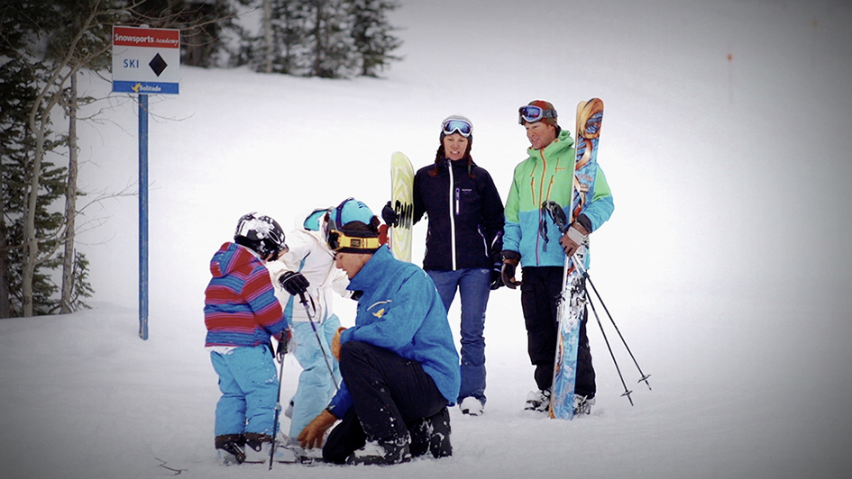 Parents Dropping Kids Off With Ski Instructor at Solitude