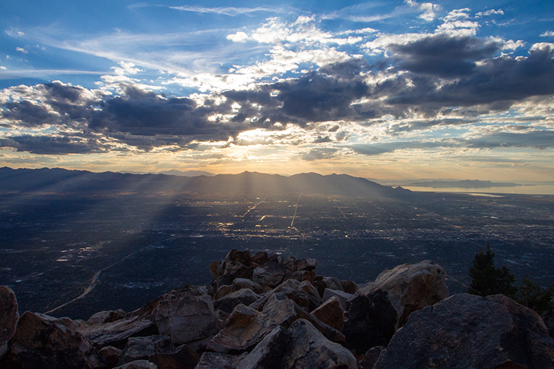 Sunset and views of Salt Lake City from the top of Mt. Olympus