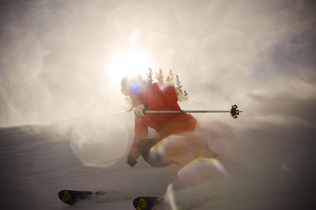 Skier Making Turns at Alta
