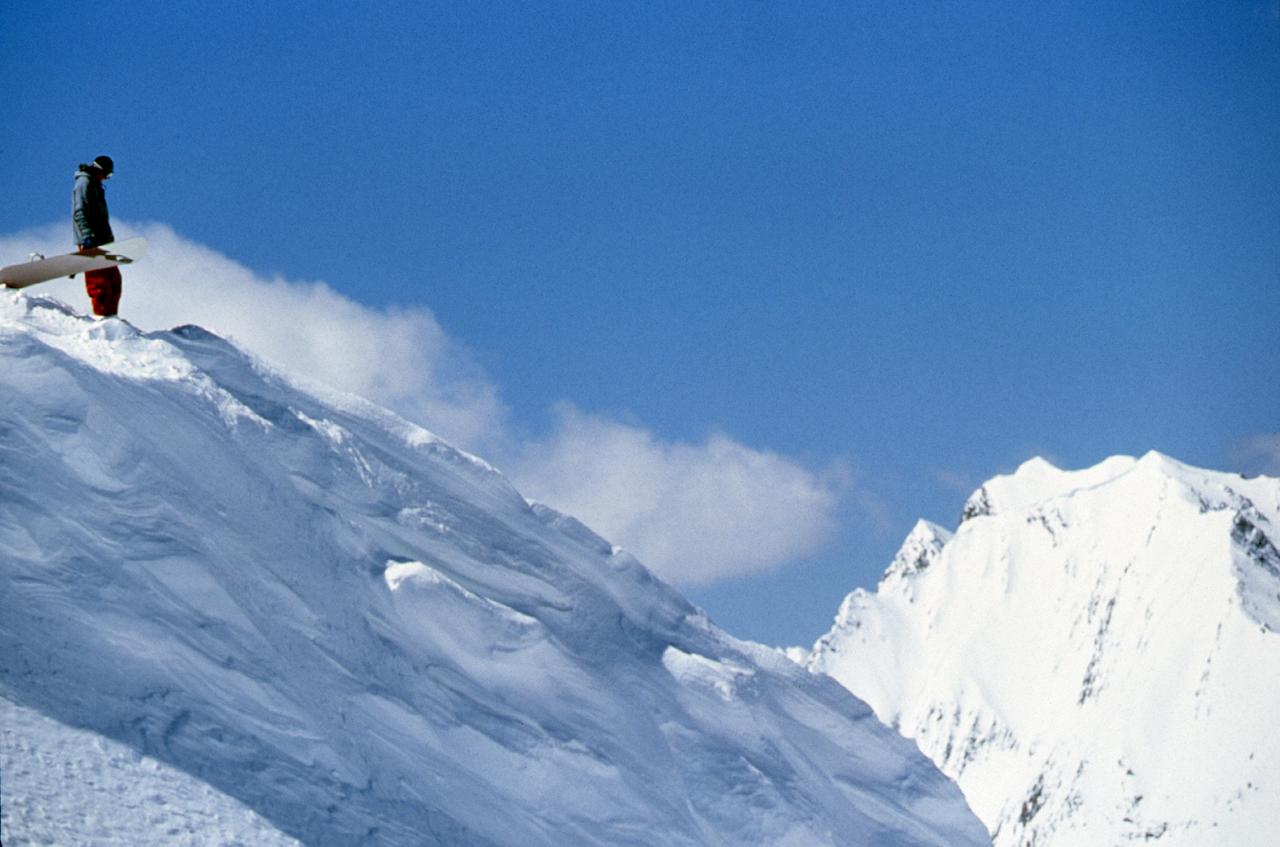 Skier Snowboarder on Peak
