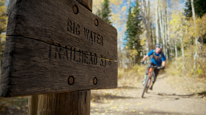 Climbing past the Big Water Trail Marker as you approach Dog Lake