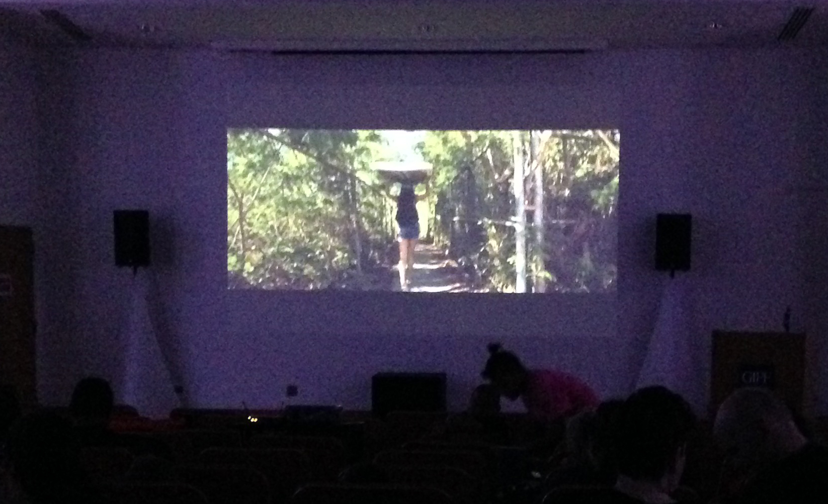 People watch one of the films shown at the UOG Film Festival