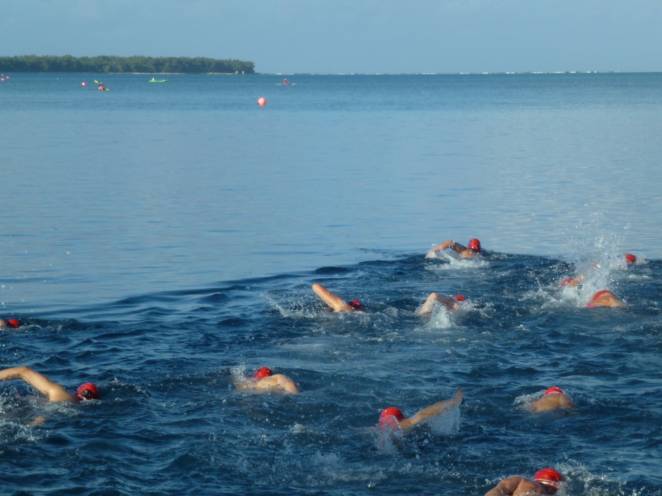 Swimmers on the way to Cocos Island.