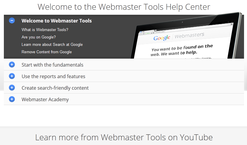 Webmaster Tools Help Center