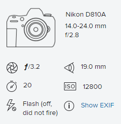 Exif Data Display Example from Flickr