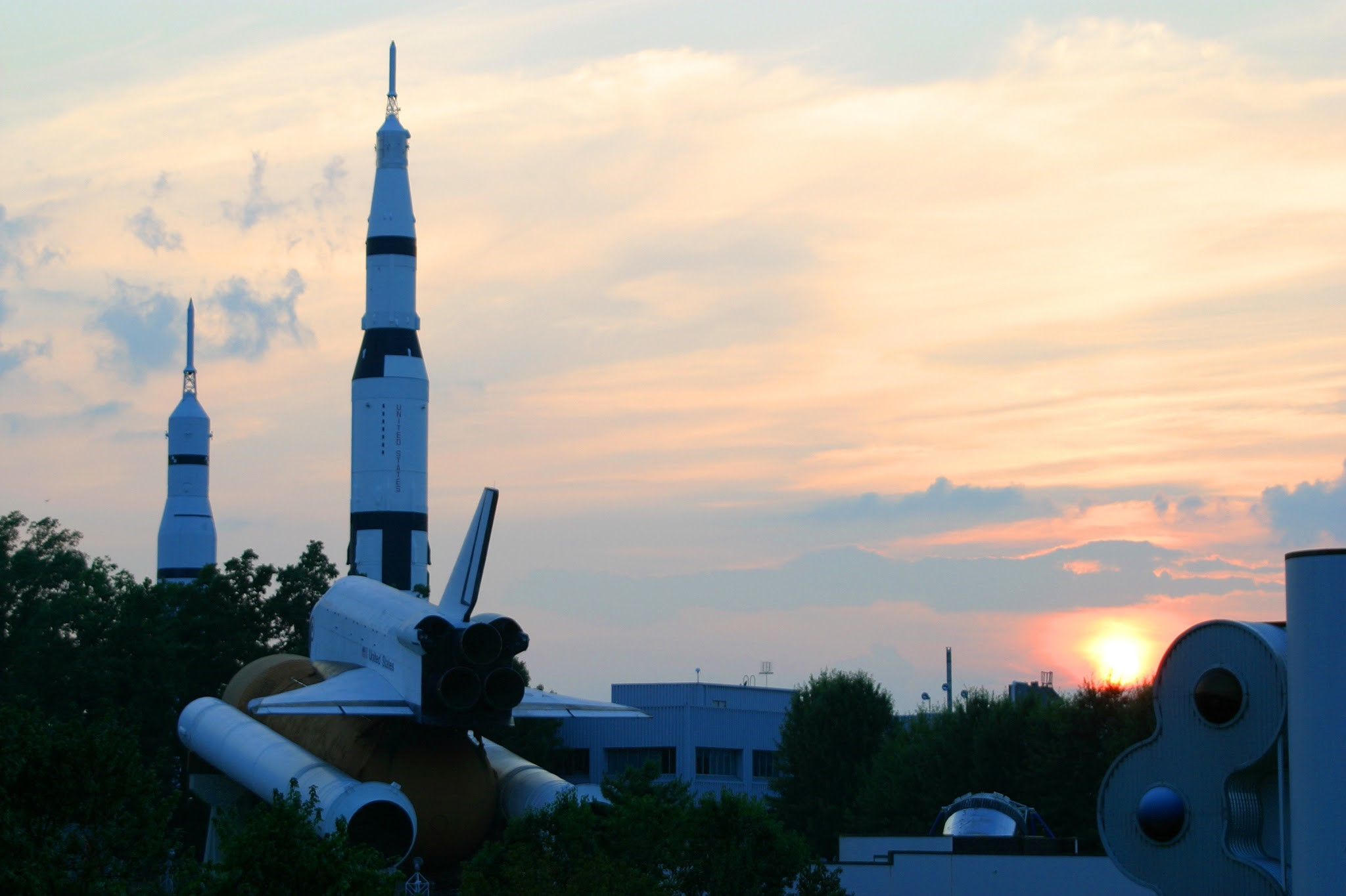 The Saturn V Moon Rocket and Space Shuttle displays at the U.S. Space & Rocket Center