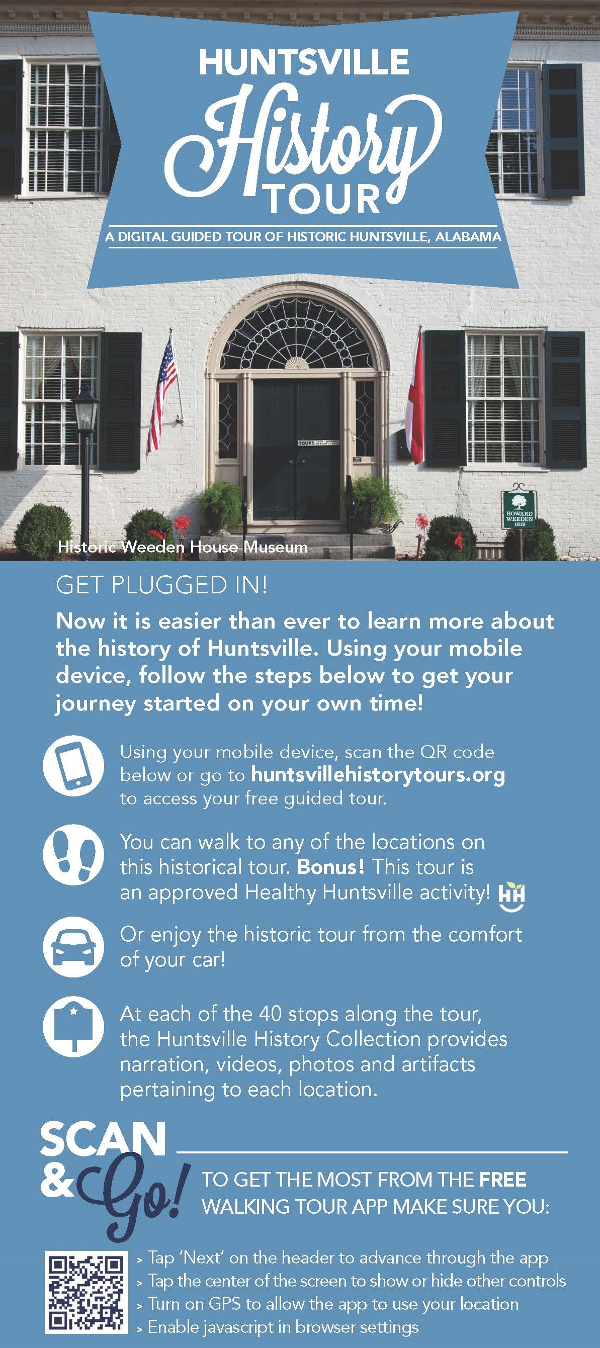 Digital Huntsville History Tour Rack Card Side 1