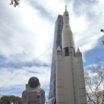 BuzzHuntsville with an inflatable model of the Space Launch System (SLS)