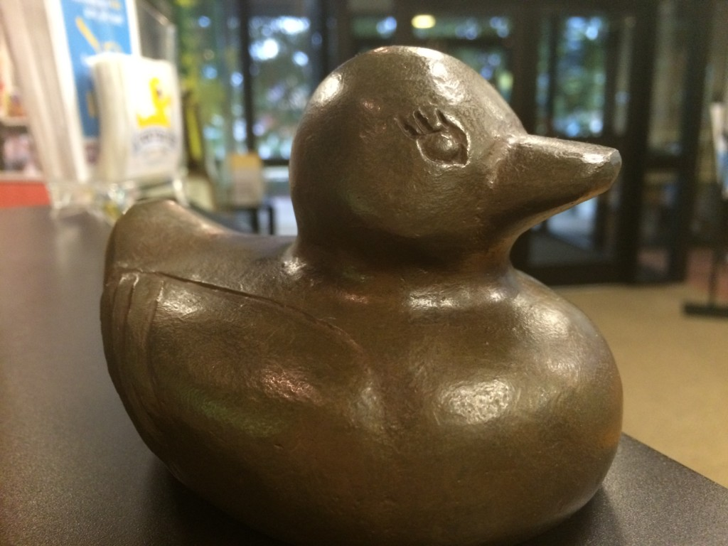 The bronze ducks of the Lucky Duck Scavenger Hunt via iHeartHsv.com