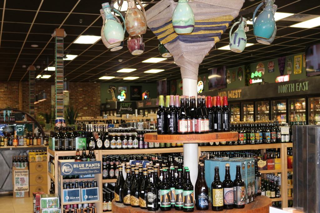 Growlers and beer at Liquor Express in Huntsville, Alabama