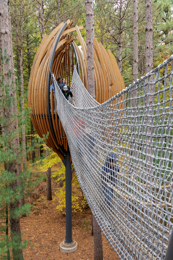 Whiting Forest of Dow Gardens Canopy Walk in Midland, MI