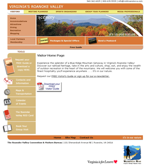 Roanoke Valley visitors page - old