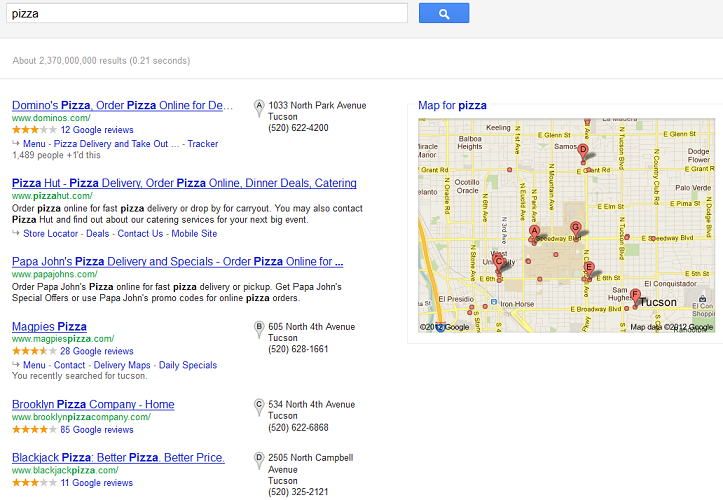 Google Places Example for SEM Blog