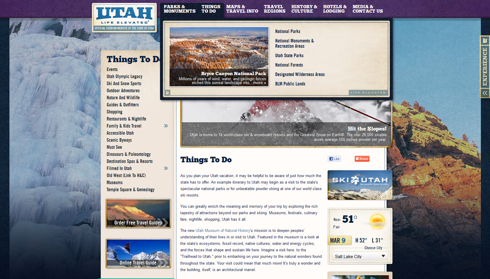 Utah Tourism Website - March 2012 - Winter Imagery