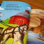 """Amish Acres Historic Farm & Heritage Resort is featured in a page from """"Blue's Road Trip through Indiana."""""""