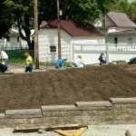 Volunteers clean up Friday, May 13, around the Nappanee Center Quilt Garden in preparation for planting May 18-19, 2016. Photo courtesty of Quilt Garden-Nappanee Welcome Center Facebook page.
