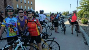 Members of the Evanston Bicycle Club from suburban Chicago prepare to set off Saturday, July 23, 2016, for a day of bicycling adventures on the Pumpkinvine Nature Trail.