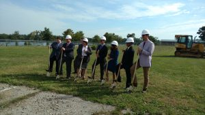 The owners of the new GLO hotel in Goshen joined with dignitaries for a groundbreaking ceremony on Sept. 22, 2016.