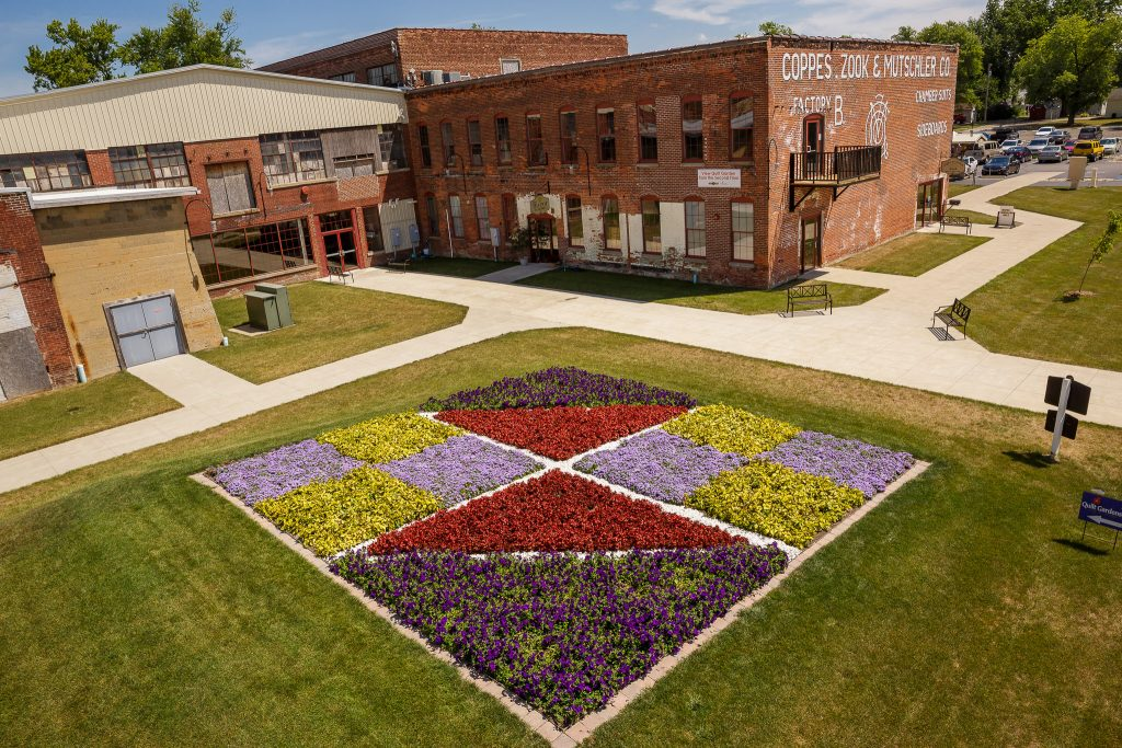 This Quilt Garden is positioned next to Coppes Commons in Nappanee.
