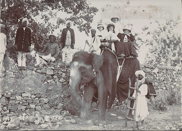 Etta Cone and Claribel Cone seated on an elephant with Moses and Bertha Cone, India, 1907. Claribel Cone and Etta Cone Papers, Archives and Manuscripts Collections, The Baltimore Museum of Art. CG.18.