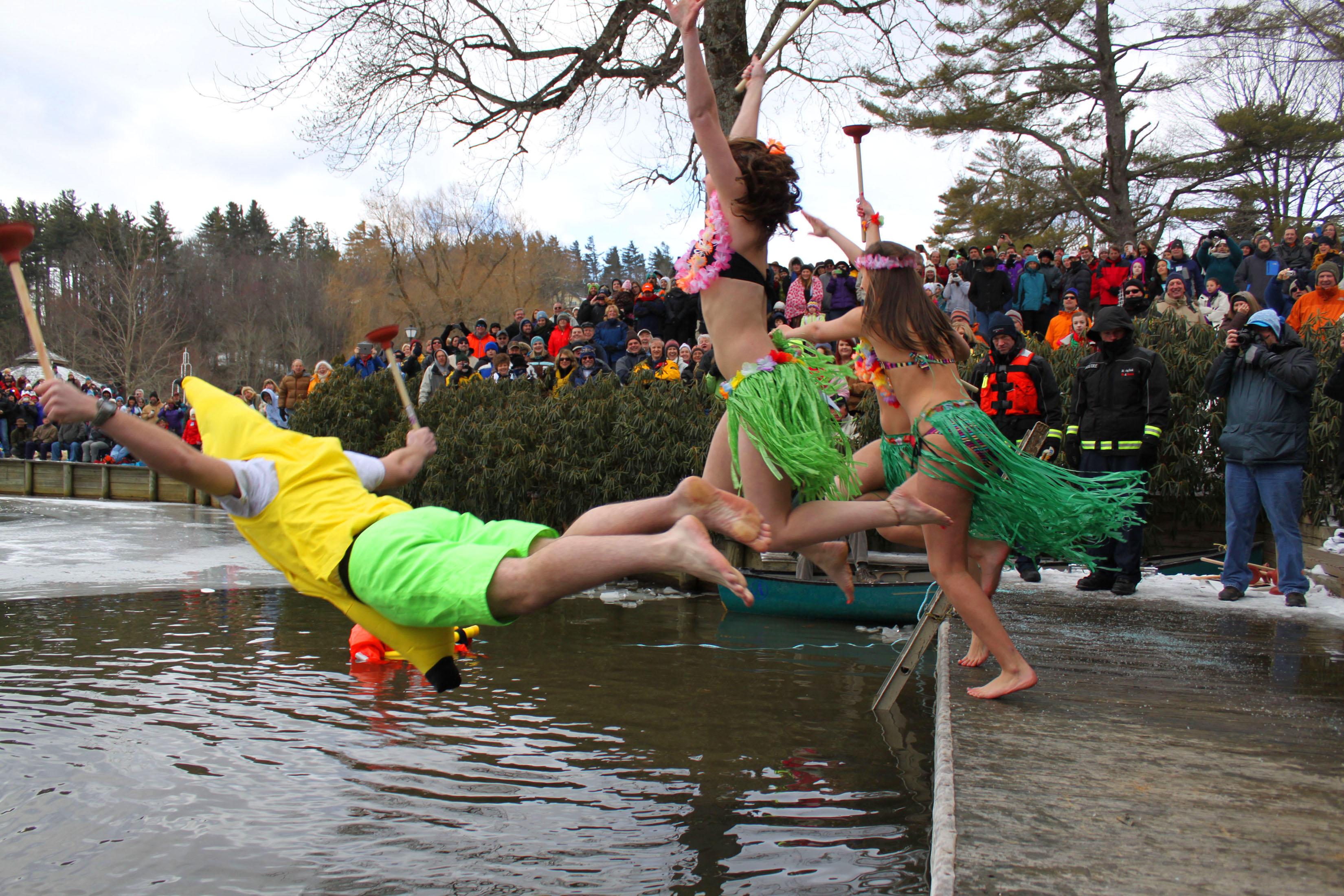 Hardy Polar Plunge participants jump in Chetola Lake