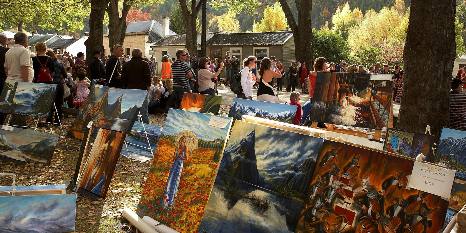Paintings at Arrowtown market