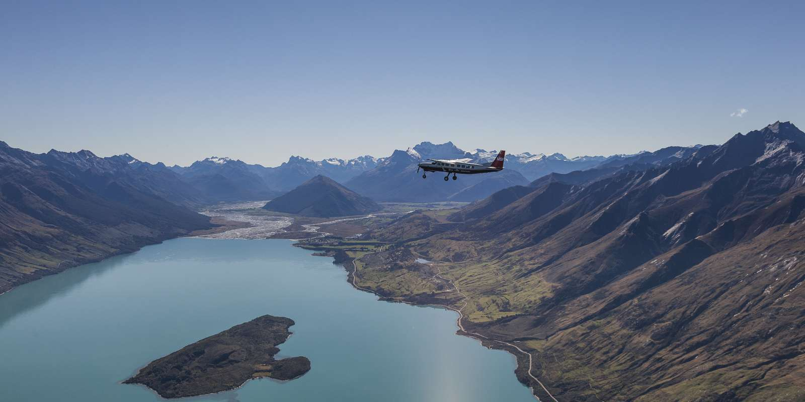Scenic aeroplane flight over Glenorchy