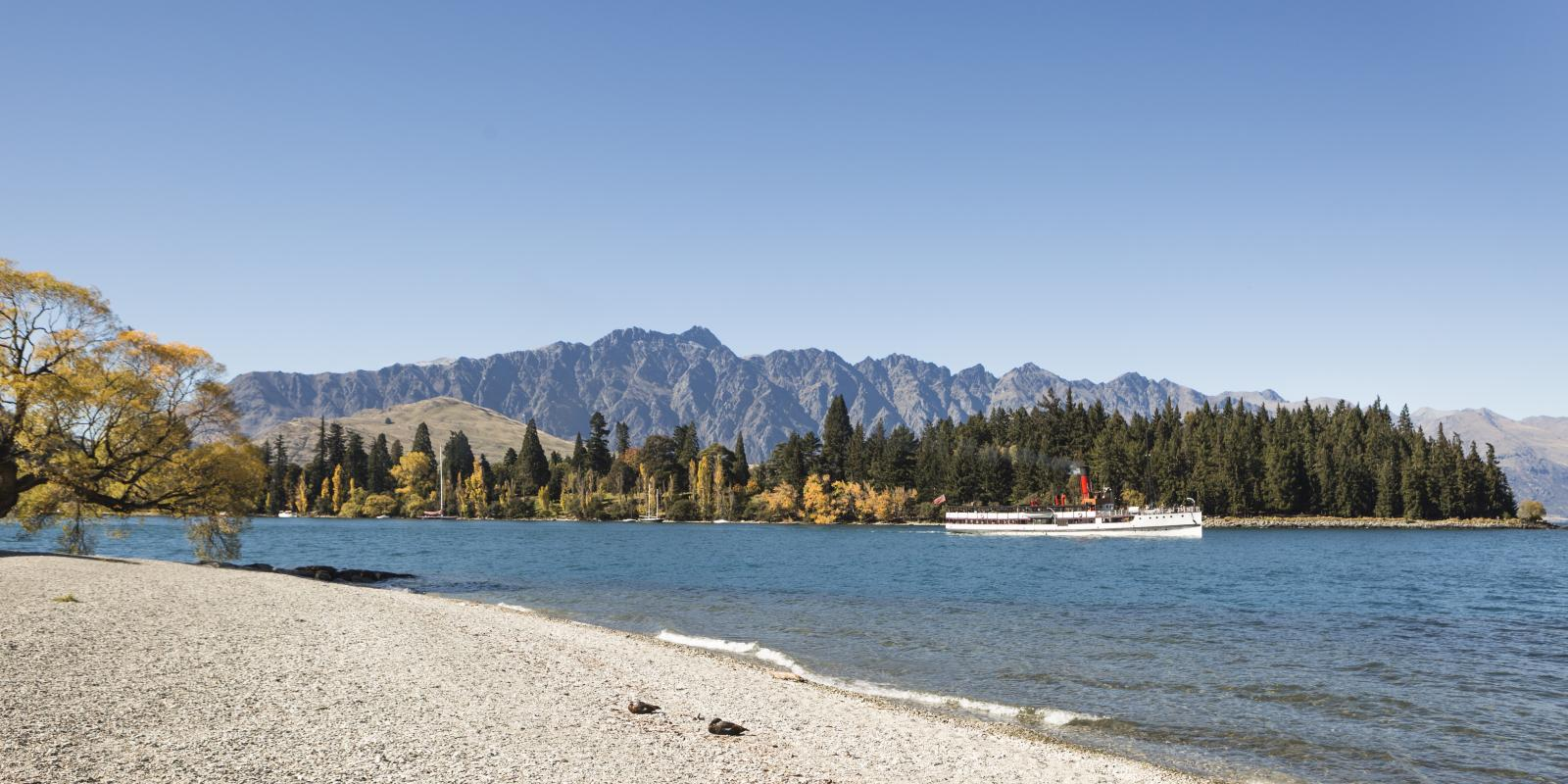 The TSS Earnslaw leaving Queenstown Bay