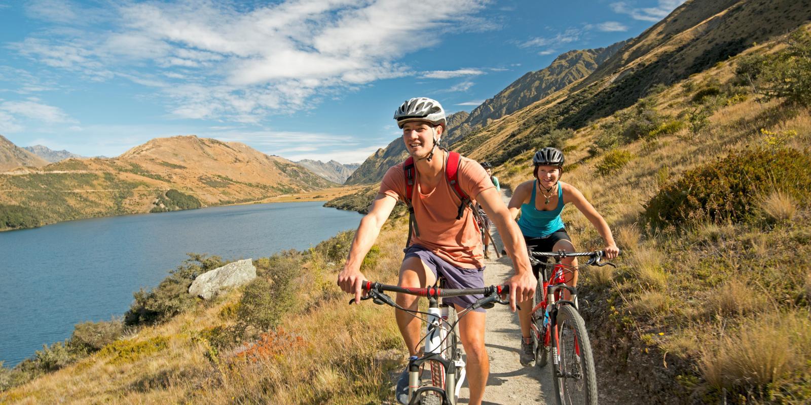 Biking at Moke Lake queenstown
