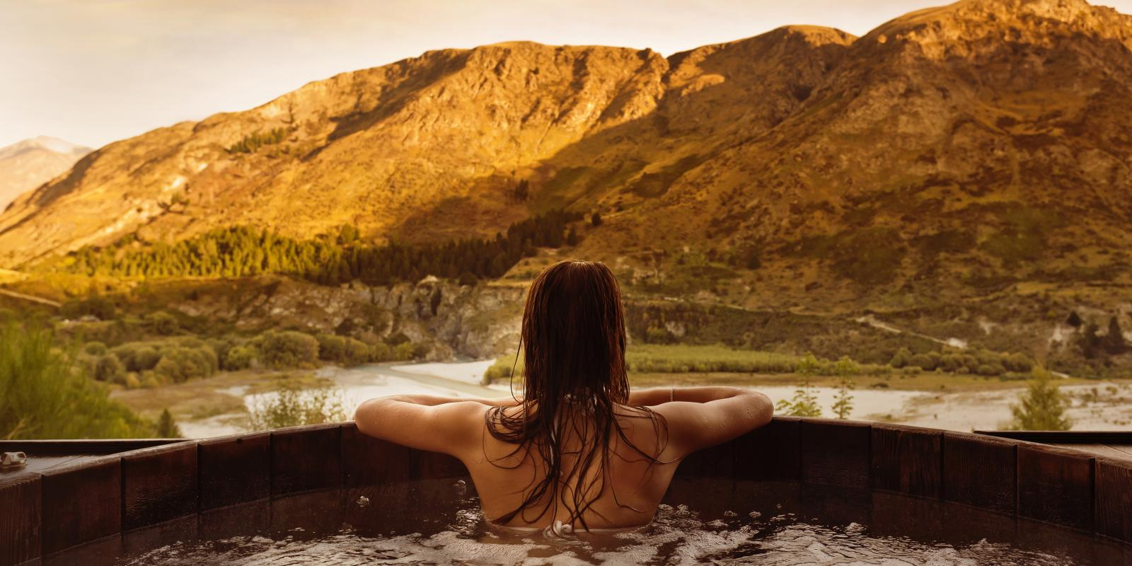 Onsen Hot Pools looking over the Shotover River Queenstown
