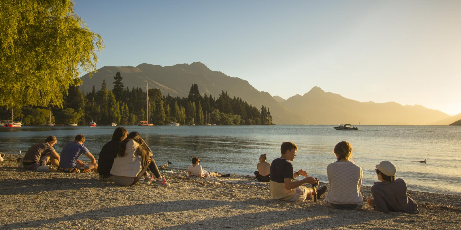 Watching the sunset on Queenstown Bay