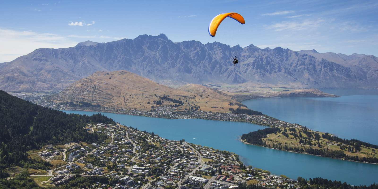 Paragliding from Bobs Peak over Queenstown