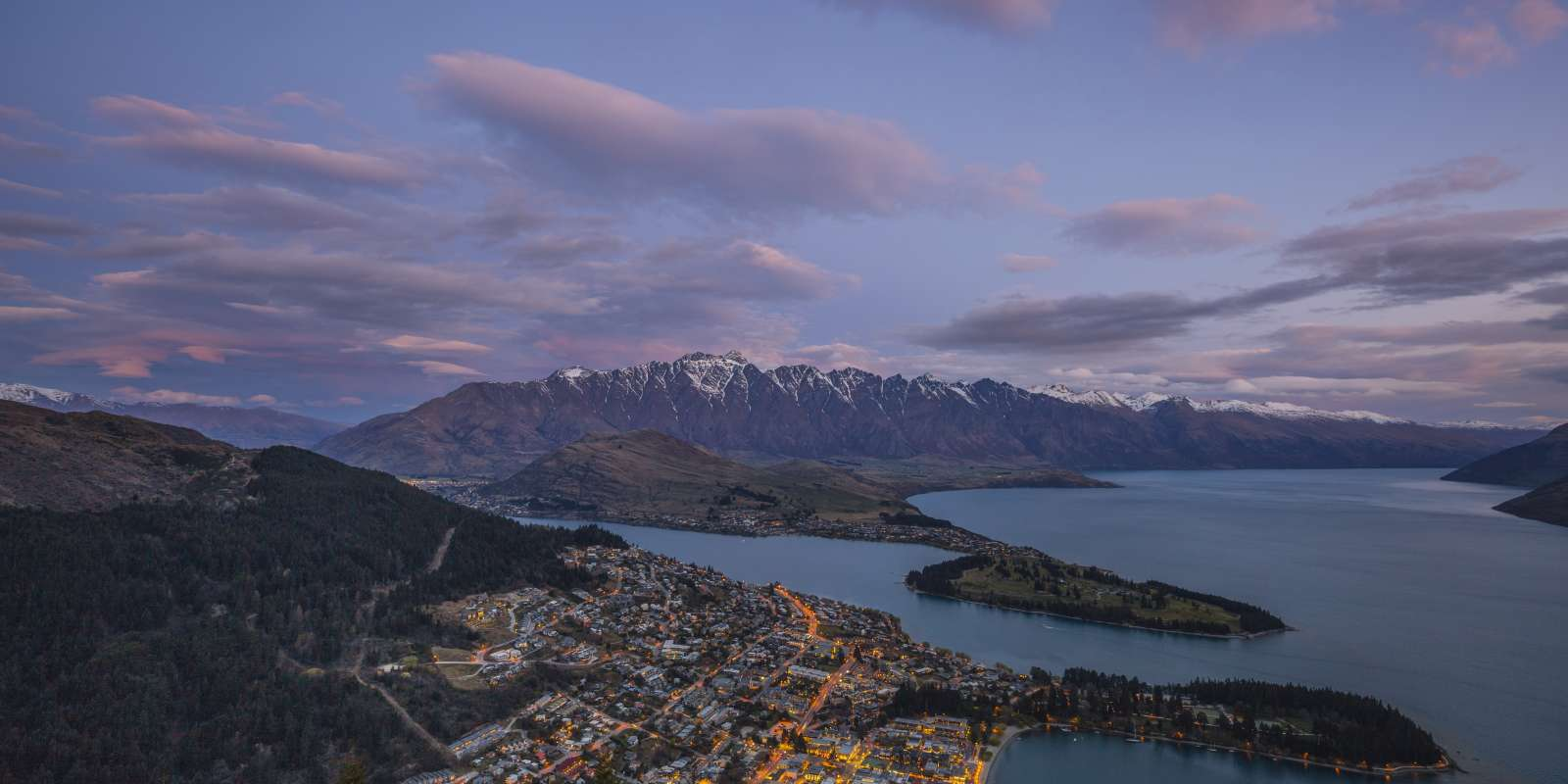 Spring in Queenstown. Aerial view.